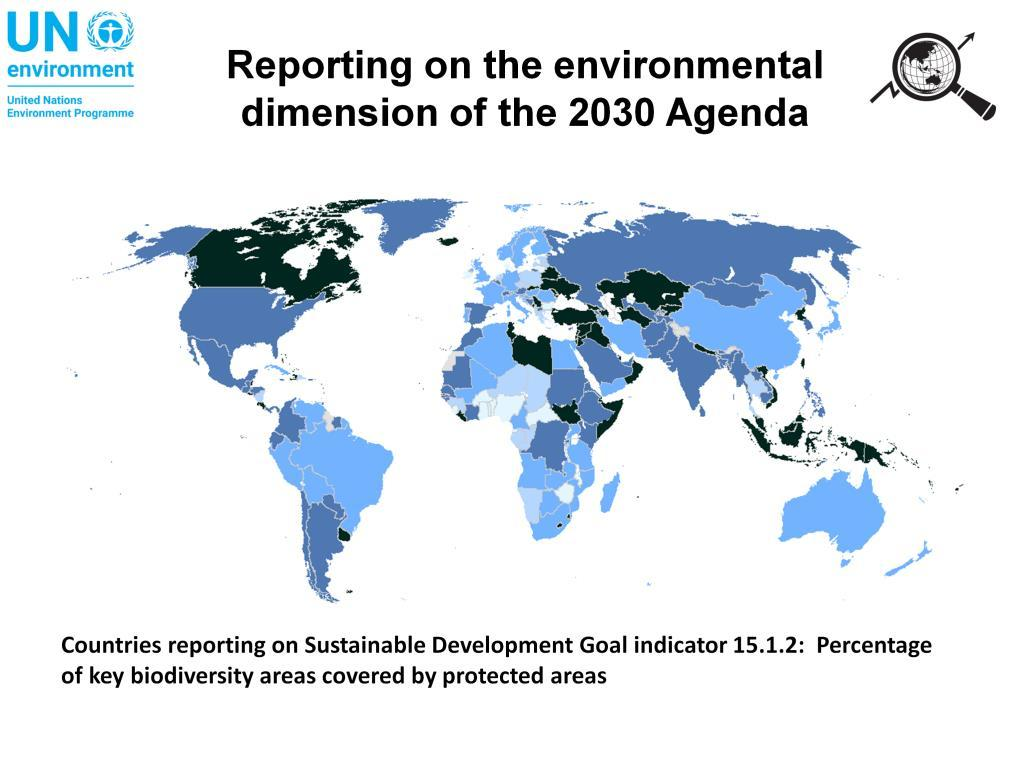 This map shows an overview of countries that reported on the percentage of key biodiversity areas covered by protected areas (Sustainable Development Goal indicator 15.1.2).