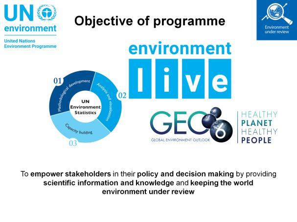 The Environment under Review subprogramme was established in 2014 with the aim to empower stakeholders in their policy and decision making by providing scientific information and knowledge and