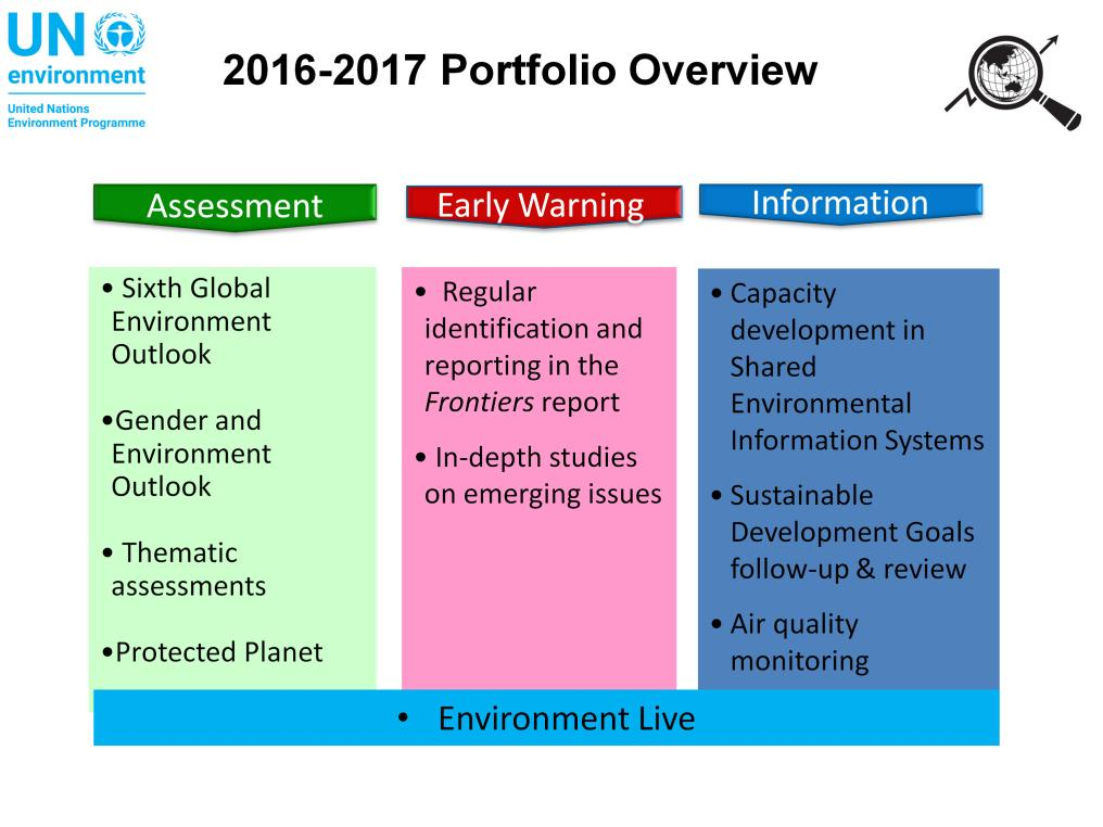 Coming back to 2017, our current portfolio is structured as follows: - A workstream on data, information and assessments - Our work on emerging issues relevant to the environment - Capacity