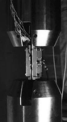 The machine grips with the specimen are shown in Fig. 3. lateral support specimen teflon films loading grip Fig.