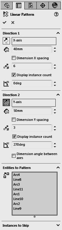 Computer Graphics Lab 2 Now select the Linear Sketch Pattern icon in the sketch entities toolbar or pull down Tools; select Sketch Tools and then pick the Linear Pattern option.