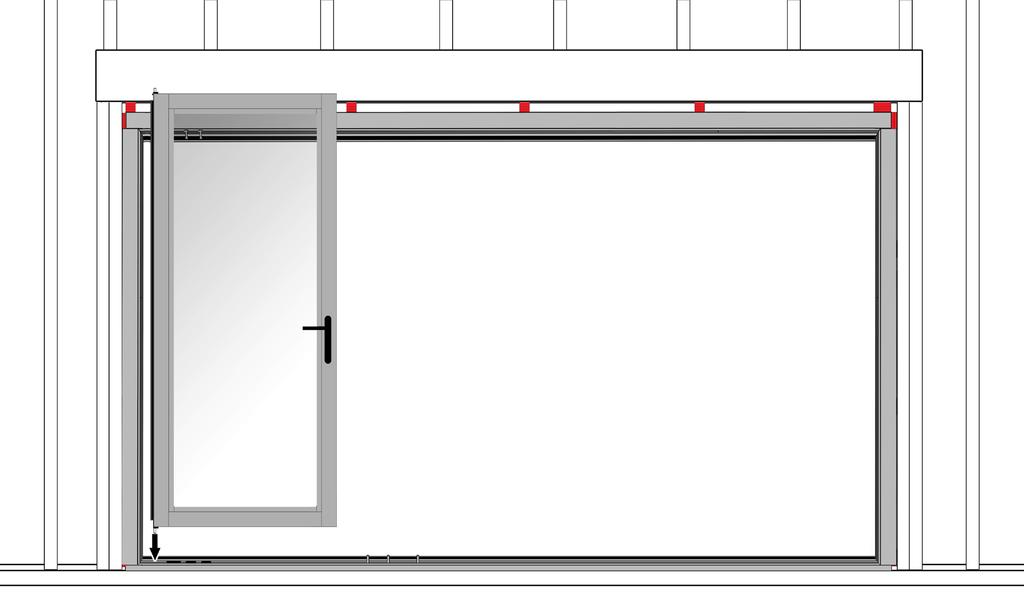 Section 4: Installing the Swing Door 10 1. Align the bottom pin of the swing door with the swing door pivot pin hole in the bottom track. 2.