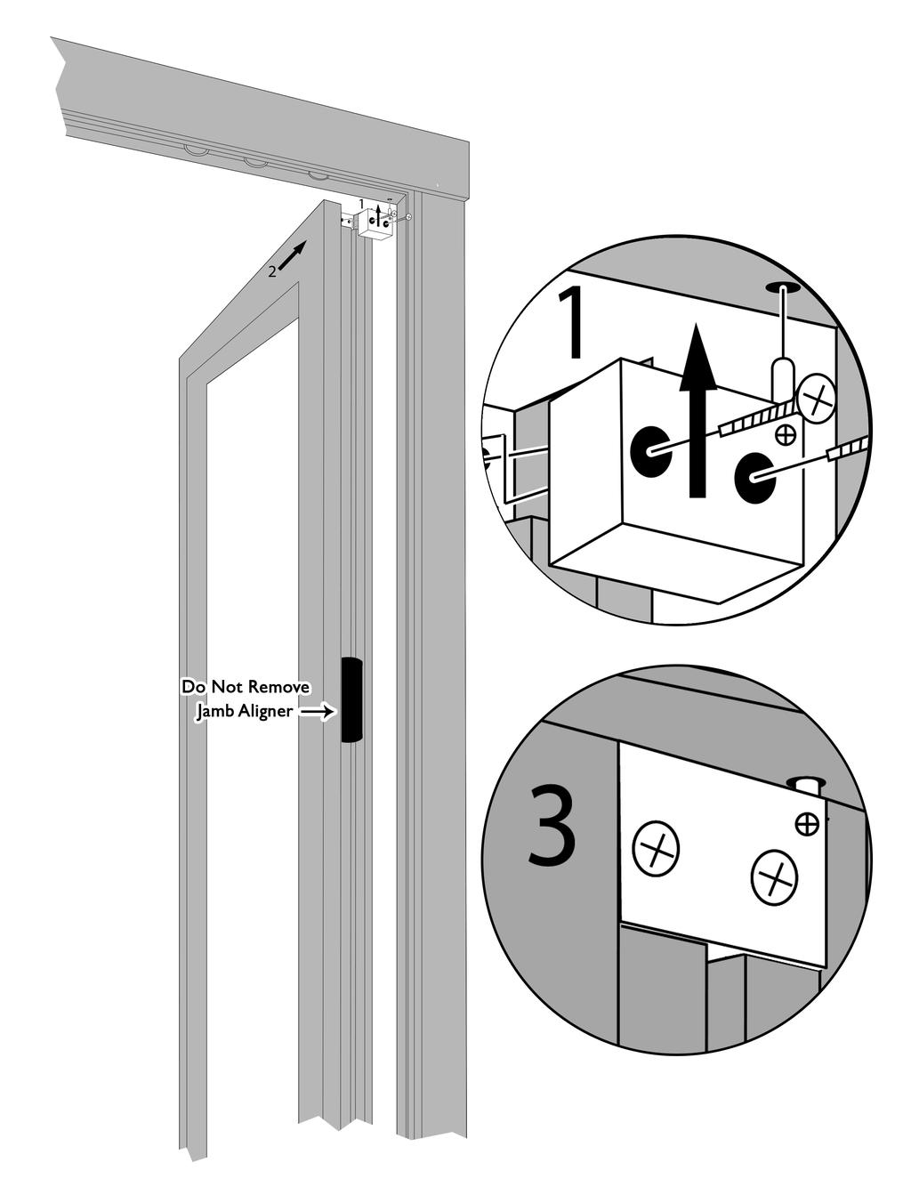 Installing the Swing Panel(s) 11 1. Remove hinge block from top of swing panel and slide hinge pin into pivot hole in the top track. 2.
