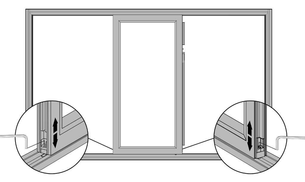 Adjusting Reveals for Sliding Panels 15 Use the reveal adjusters located on both sides of the sliding panel to adjust your reveals; the top-to-bottom alignment of the door panels.