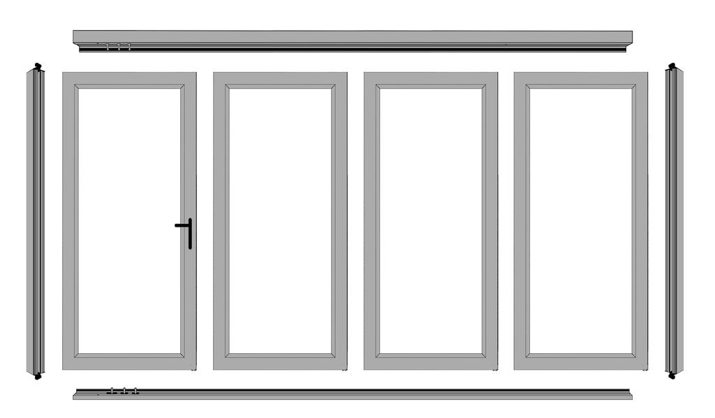 DRAWING EXAMPLE OF A 4 PANEL DOOR WITH 1 SWING DOOR NOTE: VIEWED FROM OUTSIDE LOOKING IN The drawing shows the labels of the components and the sequence of the panels.