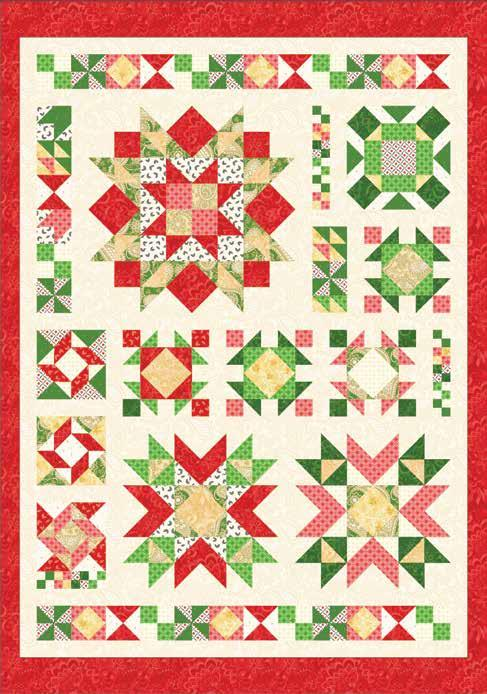 Christmas Ruby Jubilee AMD 075 Ruby Jubilee Dimensions: 56-1/2 x 80-1/2 Retail: $24 UPC: 719318356388 Description: Ruby Jubilee is a 56-1/2 x 80-1/2 ' pieced modern sampler that puts a new spin on