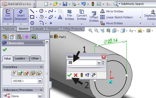 Pay attention: do NOT click on another element because SolidWorks