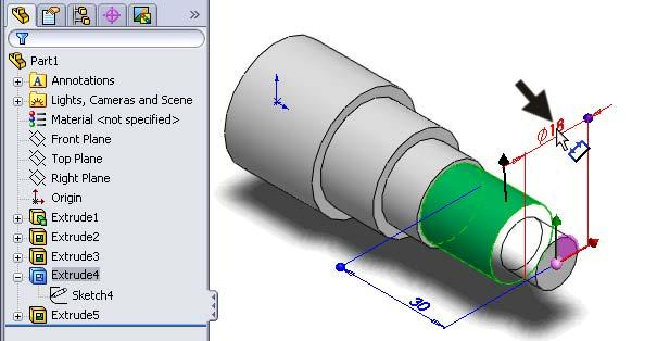 40 We now notice that the dimensions of the third cut are wrong! It says Ø18x30, but it needs to be Ø16x25. How do we adjust this? In SolidWorks you will find this very easy to do!