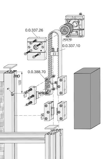 Lifting-Door Guide Set Guide runs along the Line 8 groove For connecting door panel and counterweights Manual drive