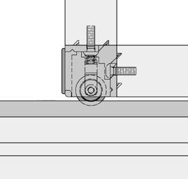 Sliding-Door Guide Profile 8 x10 is fitted with Clip 8 St at the top and bottom of the surrounding profile frame. It forms the guide for two door leaves of Clamp Profile 8 32x18.