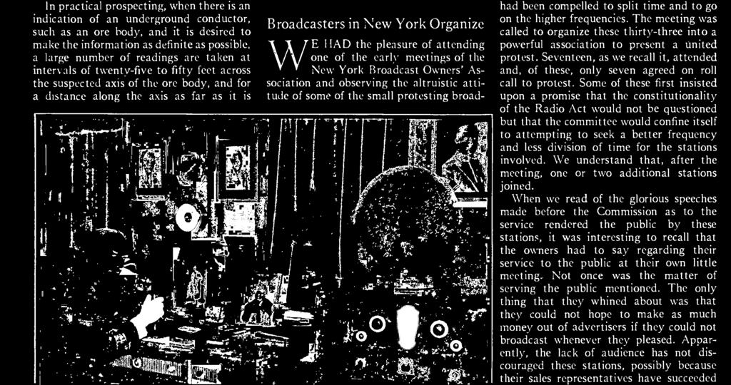 It was announced in the press that thirty -three New York stations had combined to offer a united protest to the Federal Radio Commission because they had been compelled to split time and to go