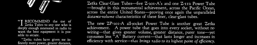 Zetka Clear -Glass Tubes -five Z- 2o1 -A's and one Z -112 Power Tube -brought in this