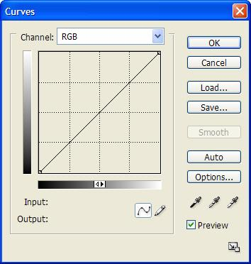 Figure 2-9: Curves dialog box. In the Levels dialog box, the x-axis (horizontal) of the graph is the range of tones from 0 to 255 and the y-axis (vertical) is quantity of pixels.