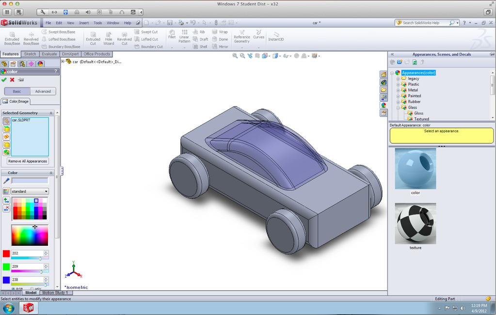 Glass Canopy Flip the car back around using Isometric Make the car body
