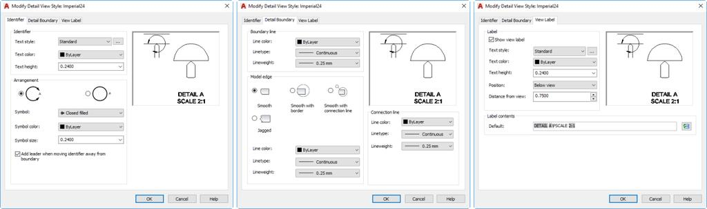 AutoCAD displays a Create New View Style dialog so that you can name the new style. Then, AutoCAD displays the New Detail View Style dialog. This dialog contains three tabs.