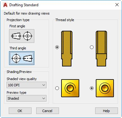 Setting the Drafting Standards for Drawing Views When you create drawing views, those views are based on the current drafting standards.
