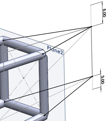 EAA SOLIDWORKS University p 8/11 Add Rudder Post & Supports 1. Create a new 3D sketch. Select the Right Plane and draw a vertical line for the rudder post near the tapered end of the airframe.