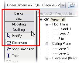 The design bar has many tabs. Each tab (Basics, View, Modeling, and more) appears as a rectangle with the title on it.
