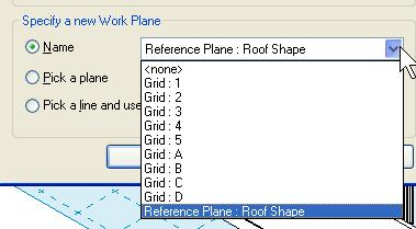 34 On the Basics design bar, click Roof > Roof by Extrusion. 35 In the Work Plane dialog box, select Roof Shape from the Name list.