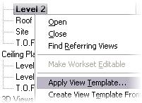 47 Change to the Level 2 view. In the project browser, right-click Floor Plan Level 2. Click Apply View Template. Select Roof Plan View Template from the list.