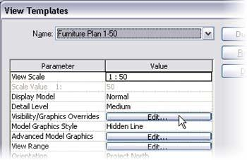 5 On the Settings menu, click View Templates. Set the view template to edit to Funiture Plan 1-50.