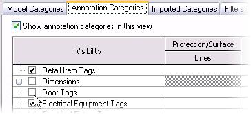 8 Click the Annotation Categories tab. Clear Door Tags. Clear Furniture Tags. Verify that Dimensions, Elevations, and Sections are cleared.