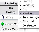 2 Verify that the Massing design bar is available:
