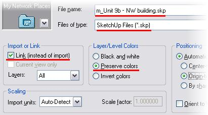 Set the view 3D Views: North East Iso current. Click Show Mass. 2 On the File menu, click Import Link > CAD Formats.