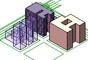 The SketchUp model is read into the Revit Architecture project. Note that this SketchUp file has a brick material applied.