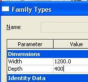 11 On the design bar, click Family Types: Change the Depth values to 400. Change the Width values to 1200. Click Apply. Click OK.