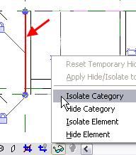 11 Hide the vertical supports and reference planes: Click the Modify tool, and select a symbolic line that you just created. On the Drawing window view toolbar, select the Hide/Isolate icon.