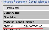 Associate the Family Parameter to the Properties of the 3D Geometry 5 Select all 3D geometry, and click Properties. The material parameter is a hard-coded property of a solid extrusion.
