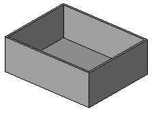 10 Create a void to cut away the inside of the box: On the design bar, click Void Form > Void Extrusion. Draw a rectangle on the interior side of the existing solid.
