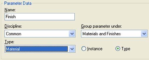 18 Finally, in the Family Types dialog box, add a new Material parameter. Name: Finish. Associate the entire 3D geometry to it.