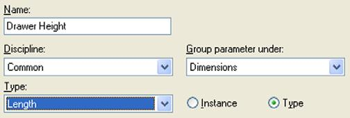 Dimensions. Type = Length. Click Type radio button. Click OK to return to the Family Types dialog box.