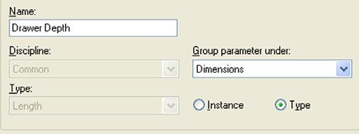 Group Parameter Under =  27 Under Parameters, click Add and set the following Drawer Depth parameters: Name = Drawer