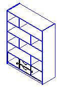 9 Repeat, assigning the following elements to their associated subcategories: For all vertical separations, horizontal shelves, and the plinth, associate the Shelf subcategory.