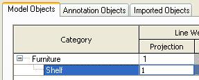 In the next step you create a subcategory in the drawer family called Shelf (same as the subcategory in the family file).