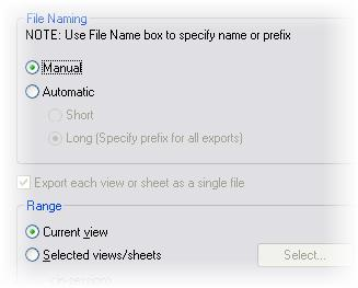13 In the Export dialog box: Under File Naming, click Manual.