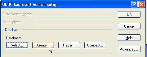 5 In the ODBC Microsoft Access Setup dialog box, click