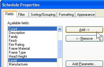 11 Right-click the schedule table. Click View Properties. In the Element Properties dialog box, next to Fields, click Edit.