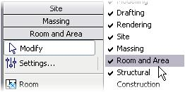 5 If the Room and Area design bar is not available, right-click the design bar. Click Room and Area to open the tools.