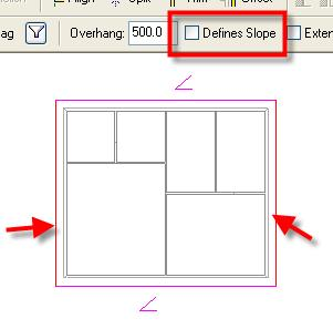 44 Select the left and right roof footprint lines. On the options bar, clear the Defines Slope check box.