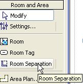 28 On the Room and Area design bar click Room Separation. 29 Draw lines from wall to wall at the treads. Click Modify.