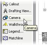 49 On the View design bar, click Camera. 50 Select a point at the lower left to place the camera (camera icon in image).