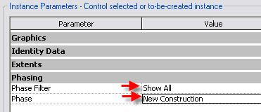 3 In the Level 2 Demolition plan, open the view properties and change: Phase Filter = Show