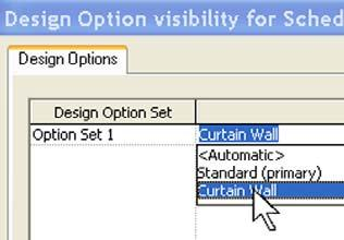 25 Assign the option to the new schedule view: Right-click the Room Schedule Curtain Wall Option again. Click Properties. Click the Visibility/Graphics Overrides Edit button.