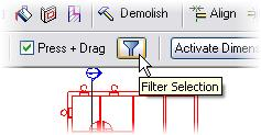Select only the Windows check box. The selection window selects everything within the box created by the two picks.