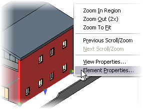2 Right-click one of the exterior walls. Click Elemental Properties.
