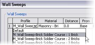 10 In the Wall Sweeps dialog box, click Add. 11 Use the list to set the profile to the Soldier Course: 1 Brick. Click the Material line. Click the Browse icon.